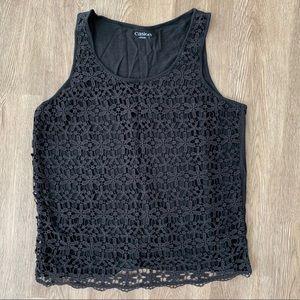 Carlson L daisy lace black tank top dressy summer